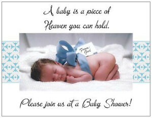 20-BABY-Boy-Blue-Bow-SHOWER-Invitations-POSTCARDS-Post-CARDS