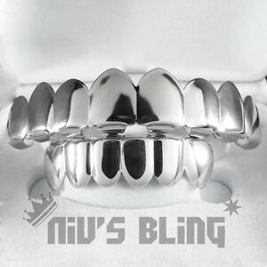18K-White-Gold-Plated-Mouth-Teeth-JOKER-GRILLZ-8-Tooth-Top-amp-Bottom-Silver-Grill