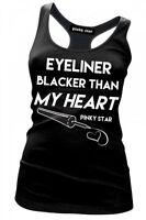 Pinky Star Eyeliner Blacker Than My Heart Racer Back Tank Top Womens