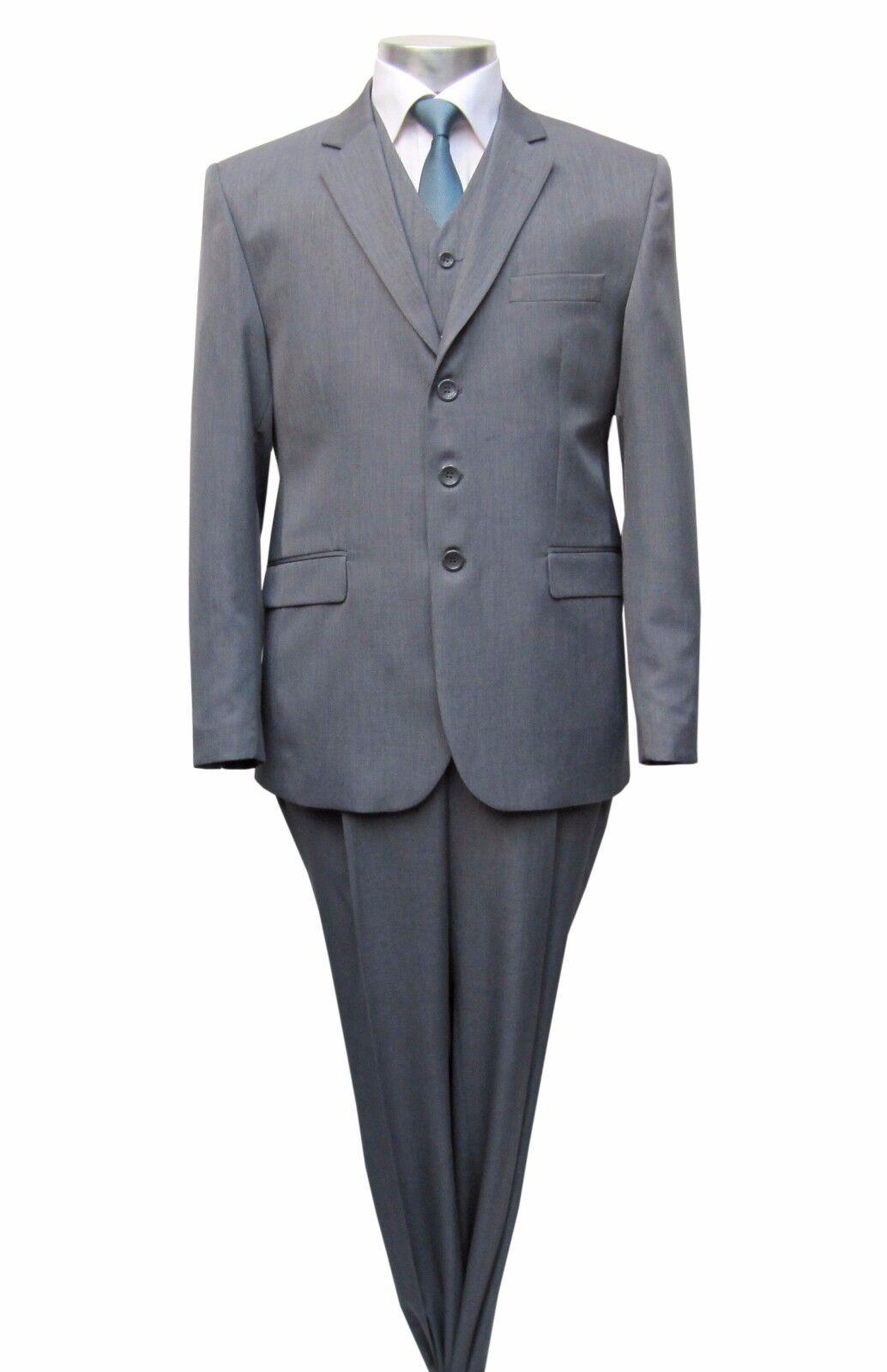 Herren Anzug mit Weste Gr.70 Grau
