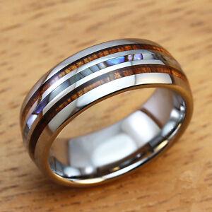 8mm Men S Wedding Bands Titanium Ring With Koa Ebony Gabon