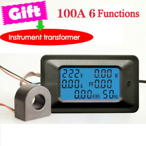 100A-AC-110-250V-LCD-Digital-Power-kWh-Vatimetro-voltios-AMP-Voltimetro-Amperimetro-Nuevo