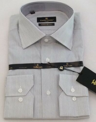 NWT Emilio Guido Italian Men/'s Luxury Dress shirt 100/% Cotton Regular Fit