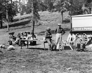 Tourists-and-guides-picnicking-in-Yellowstone-National-Park-1903-Photo-Print