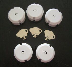 Steckdosenschutz Teddy 5 Stück weiß mit 3 Stück Schlüssel