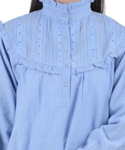 Chambray vittoriano blu Camicia notte in da di stile n0WHWgqB