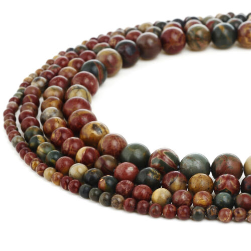 RUBYCA Natural Picasso Jasper Gemstone Round Loose Beads Jewelry Making 4mm-10mm
