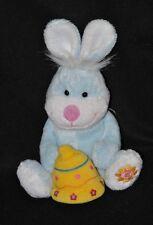 Peluche doudou lapin bleu musical GIPSY boite à musique cloche jaune 20 cm TTBE