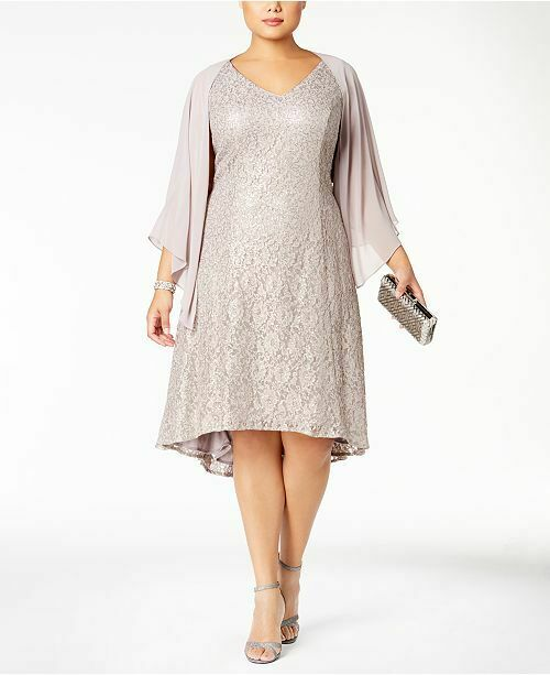 SL Fashions Women\'s Plus Size Lace Dress 18w Dark Mortar