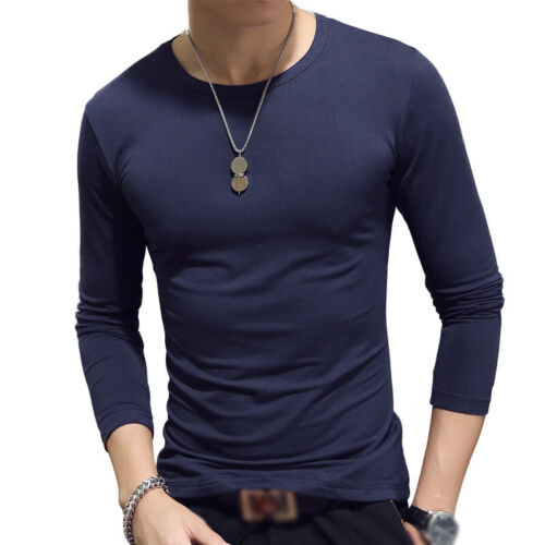 Mens Casual Slim Shirts Undershirts Tee Long Sleeve Pullover Fit Crew Neck Tops