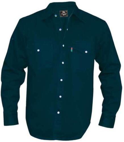 Quality New Men/'s BLUE BLACK Denim Shirt Long Sleeve Casual Classic Western