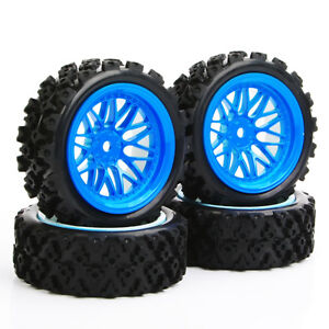 Details about 110 RC Rally Racing Off Road Car Rubber tires Tyre & Wheel Rim Set 12mm Hex