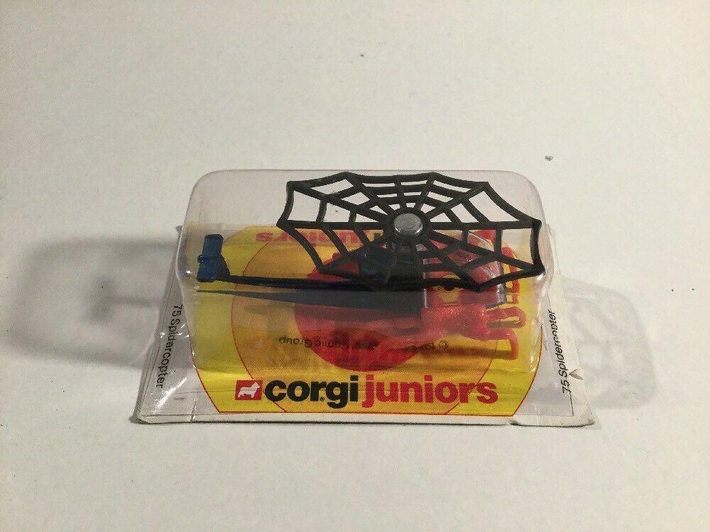 Vintage 1970's Corgi Juniors Spider Man Spidercopter No 75 On Card In Blister