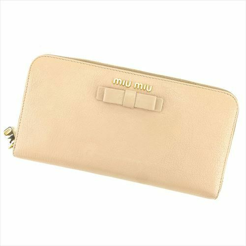 Miu Miu Wallet Purse Long Wallet Beige leather Woman Authentic Used S963