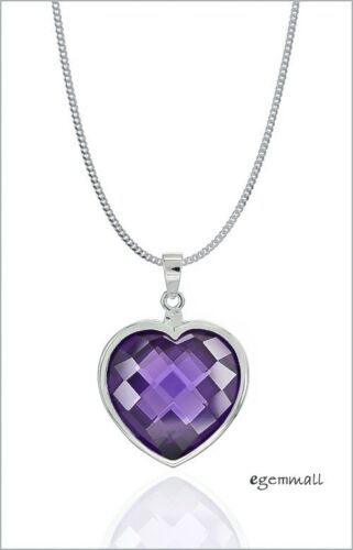 Sterling Silver Necklace with Large Amethyst CZ Heart Pendant #90087