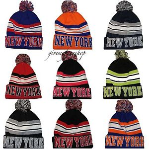 Image is loading Official-New-York-bobble-beanie-hats-NY-licensed- 1bde1684451