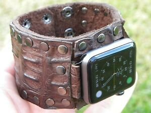 Watch-band-ONLY-FOR-Apple-42-or-38-mm-iPhone-Alligator-Bison-leather-bracelet