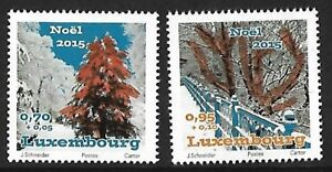 Luxembourg-2015-Noel-2-V-Stamp-Set-unique-insolite-thermographie-neuf-sans-charniere