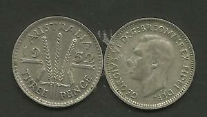 AUSTRALIA-1952-KING-GEORGE-VI-SILVER-THREEPENCE-3d-SILVER-COIN