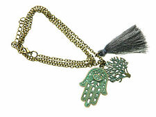 E4-0400 - Hamsa Hand with Lucky Evil Eye Tree of Life & Tassell Necklace