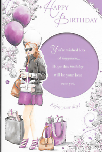 Image Is Loading HAPPY BIRTHDAY CARD WOMAN SHOPPING LILAC BALLOONS LOVELY