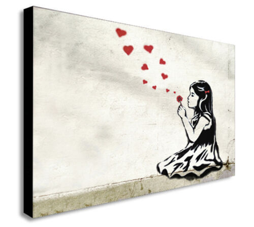 Various Sizes CANVAS WALL ART Picture Print HE LOVES ME BANKSY