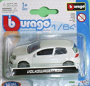 Burago-Volkswagen-Golf-R32-White-1-64-scale-die-cast-model