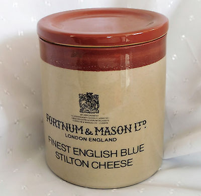 Blue Stilton cheese jar with lid Fortnum & Mason stoneware pot by Denby Pottery