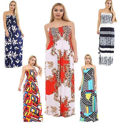 Womens Printed Boob Tube Stretch Ladies Sheering Maxi Plus Dress Size 8-26