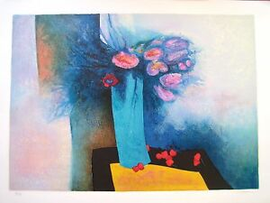 GAVEAU-CLAUDE-LITHOGRAPHIE-ORIGINALE-N-S-034-ROSE-AND-BLUE-034