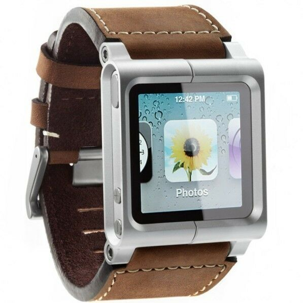 (Brown) LunaTik Chicago Collection Leather Watch Band Strap For iPod Nano 6th