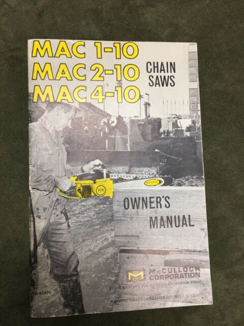 mcculloch corporation owners manual