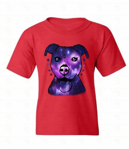 Pitbull Galaxy Youth T-shirt Dog Face Animal Lover Puppy Tongue Gift For Kids