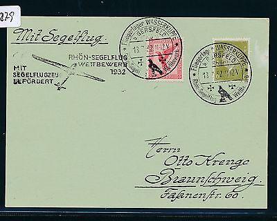 02279) Dr Glider Rhön - Segelflug - Wettbewerb 1932, Karte Sst 18.7., Mif