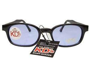 KD's Sunglasses Original Biker Shades Motorcycle Black Light Blue Lens 2012