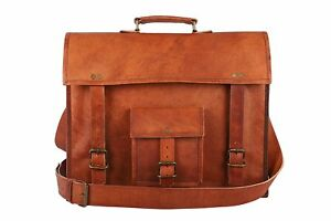 Men-039-s-Genuine-Vintage-Brown-Leather-Messenger-Bag-Shoulder-Pad-Laptop-Briefcase