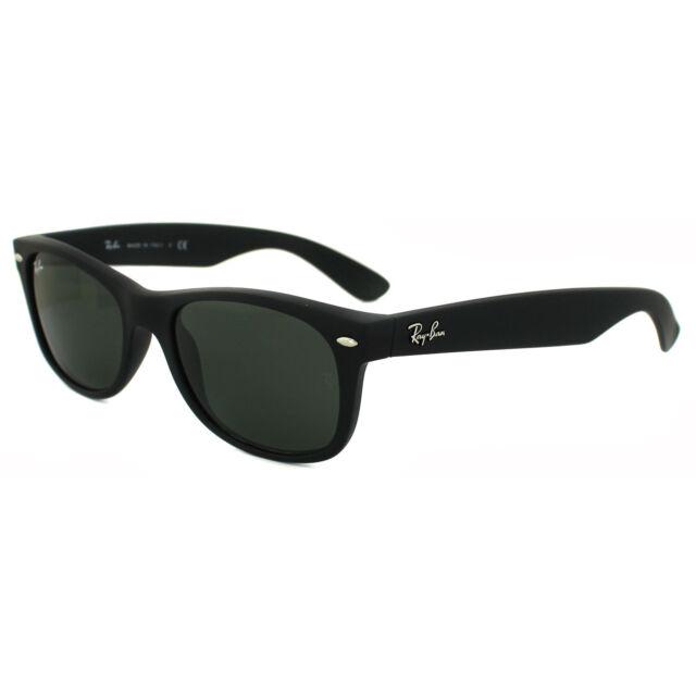 4a9549c7f45 Ray-Ban Sunglasses New Wayfarer 2132 622 Black Rubber Green Small 52mm