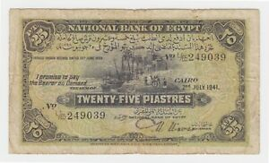 Egypt-25-Piastres-1941-P10c-aF-Nixon-Classic-Egyptian-Currency-Bill-Palm-Boat-L
