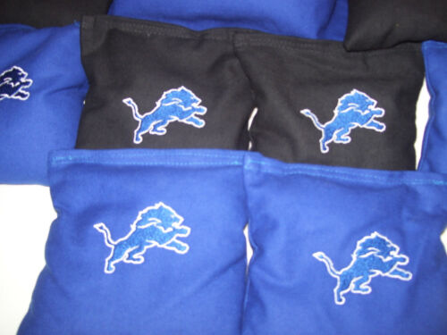 Detroit Lions Embroidered Cornhole Corn hole Bags Set of 8 with Storage Bags