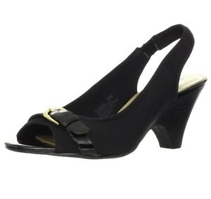 ae8676d09ad9 Details about  NEW Bandolino Women s Frisco Peep Toe Slingback Sandal -  Black Size 7.5 US