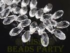 New 10pcs 16x8mm Teardrop Faceted Glass Pendant Loose Spacer Beads Clear
