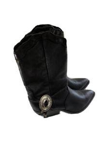 ZODIAC-Vintage-Southwestern-Shell-Spur-Boot-8-5-Black