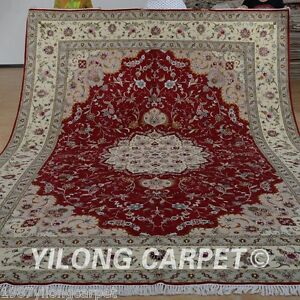 Yilong 9 X12 Persian Wool Silk Rugs Hand Knotted Red Carpets