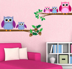 Details About Owls Wall Decal Birds Art Sticker Mural Transfer Nursery Room Wsd217