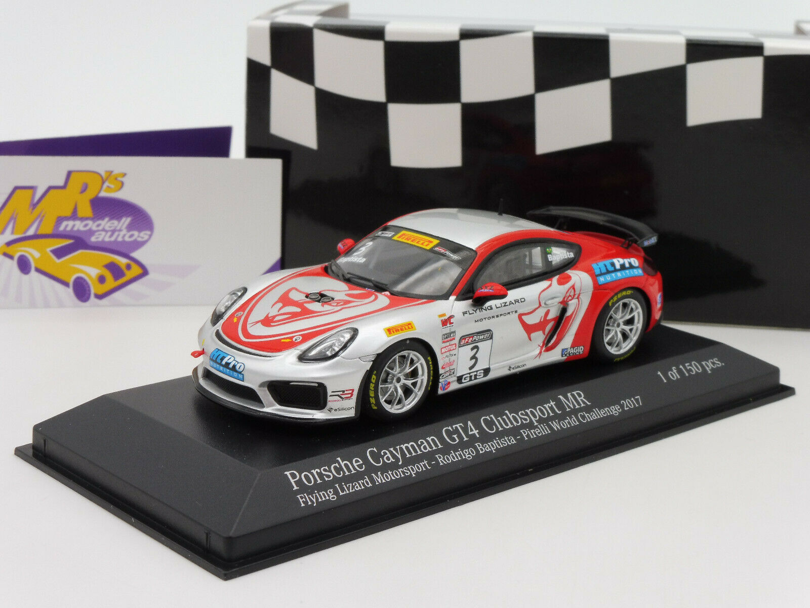 Minichamps 437171603   Porsche Cayman GT4 Clubsport No. 3 Flying Lizard 1 43 NEW