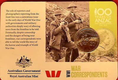 **2015 Australian WW1 1914-1918 20 cent UNC**