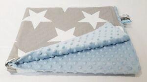 Manta de felpa de gran tamaño XXL patrón de algodón suave del bebé Tela Minky Estrellas Azul Gris