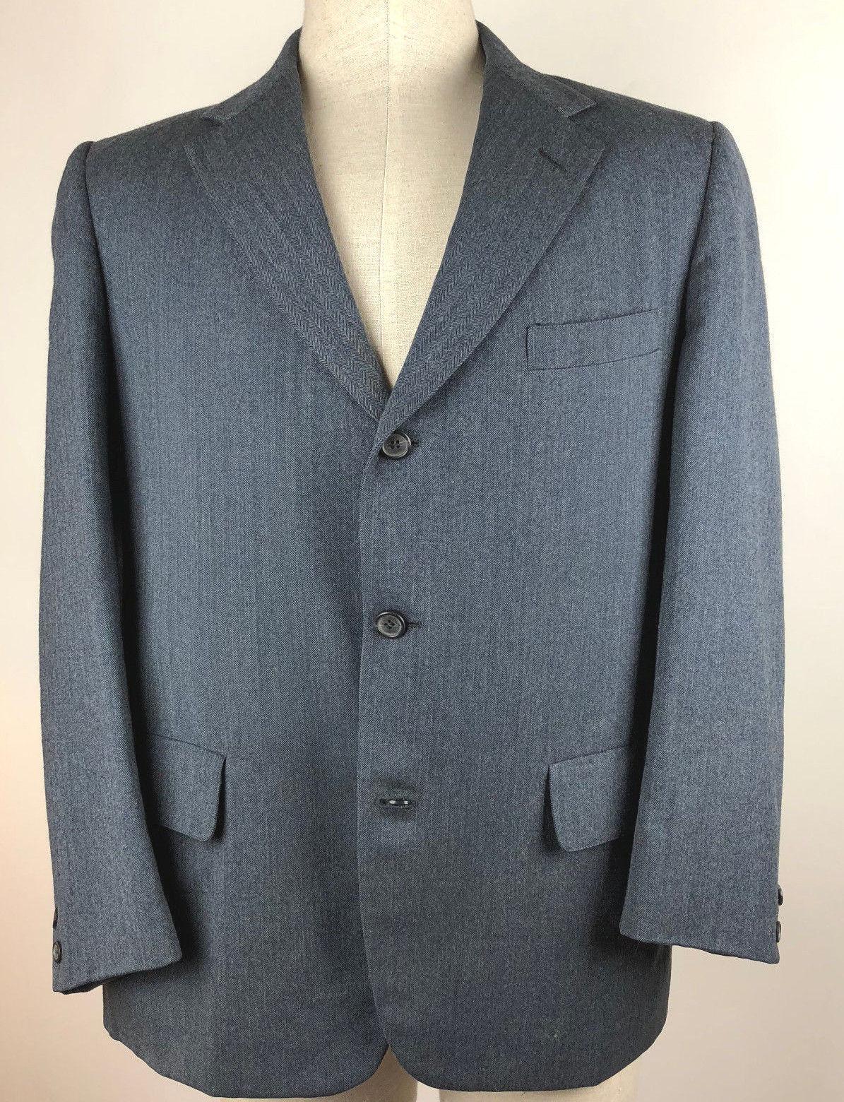 The English Shop Princeton HFreeman & Son Wool  Herren Blau Herringbone Blazer S 43