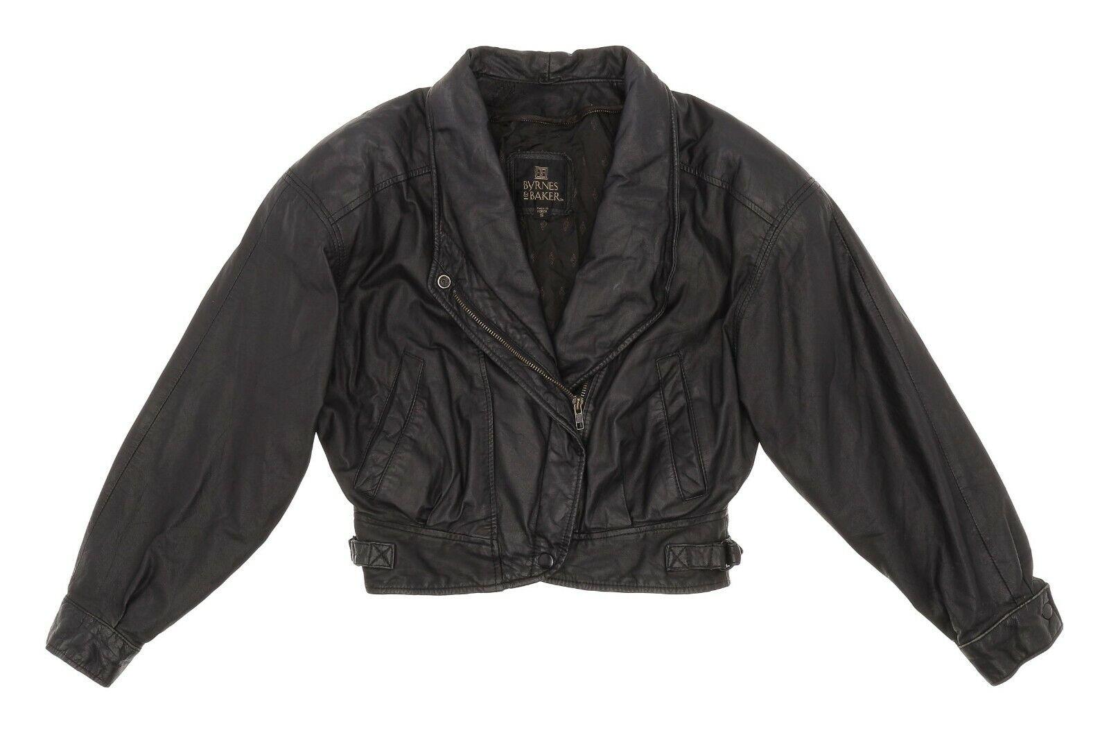 Vintage BYRNES BAKER Leather Jacket S Small Womens Vtg Cropped Motorcycle Jacket