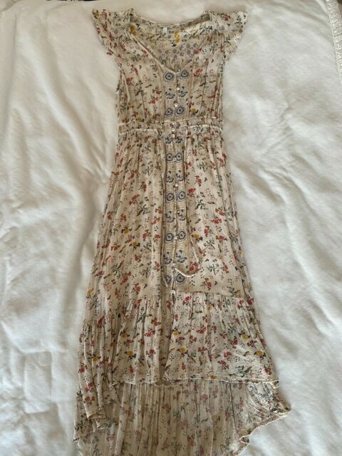Lucky Brand Maxi Dress White Floral Womens Size S